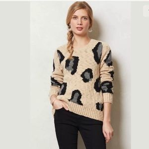 Anthro Sleeping On Snow Guepardo Leopard Sweater
